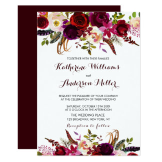 Burgundy Marsala Bohemian Floral Autumn Wedding Card