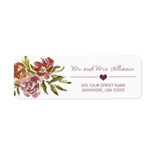 Burgundy Marsala Fall Floral Wedding Label