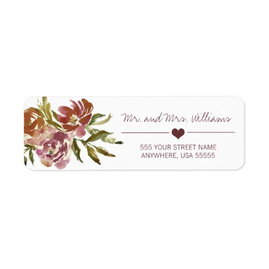 Burgundy Marsala Fall Floral Wedding Label Return Address Label