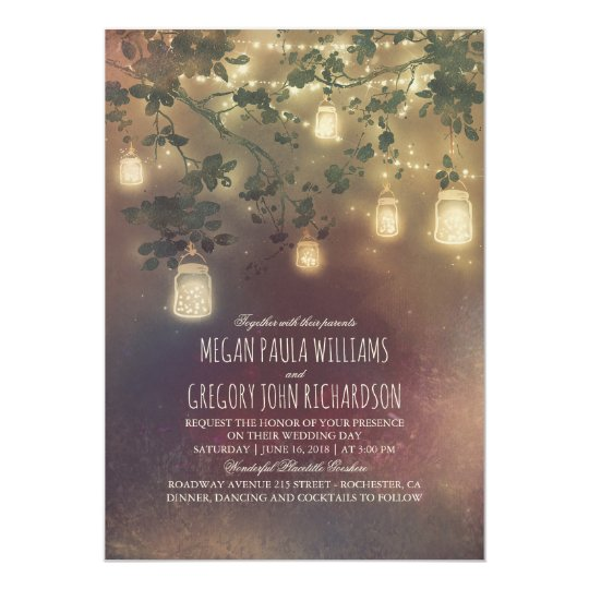 Burgundy Marsala Fall Mason Jar Lights Wedding Card