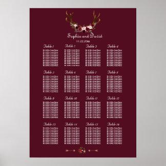 Burgundy Marsala Floral Antlers Seating Chart