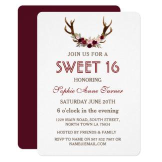 Burgundy Marsala Floral Antlers Sweet 16 Invite
