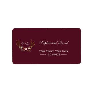 Burgundy Marsala Floral Antlers Wedding Address Label
