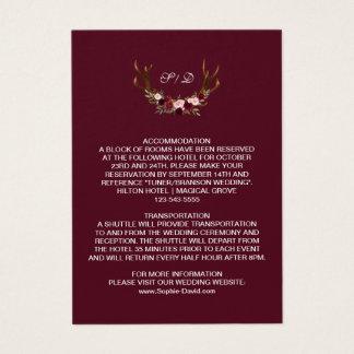 Burgundy Marsala Floral Antlers Wedding Details Business Card