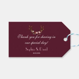 Burgundy Marsala Floral Antlers Wedding Gift Tags
