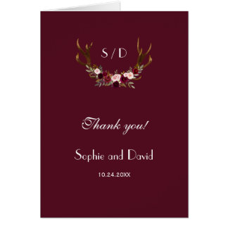Burgundy Marsala Floral Antlers Wedding Thank you Card