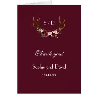 Burgundy Marsala Floral Antlers Wedding Thank you Card