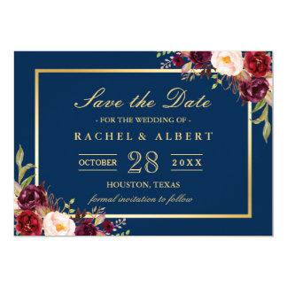 Burgundy Marsala Floral Blue Wedding Save the Date Card