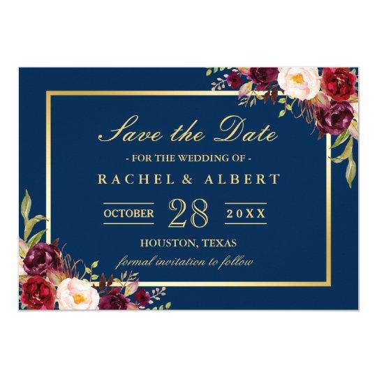 Burgundy Marsala Floral Blue Wedding Save the Date