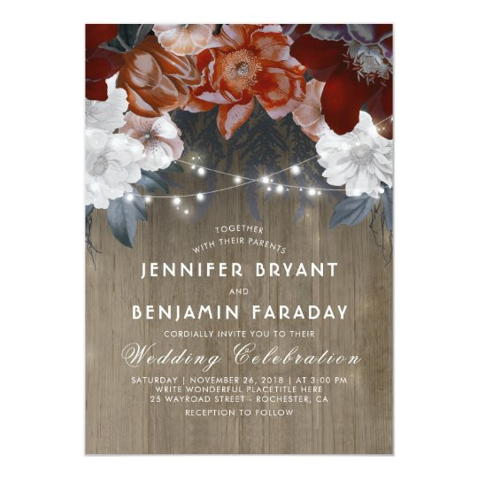 Burgundy Marsala Floral Chic String Lights Wedding Card