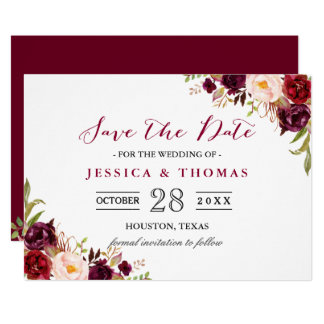 Burgundy Marsala Floral Chic Wedding Save the Date Card