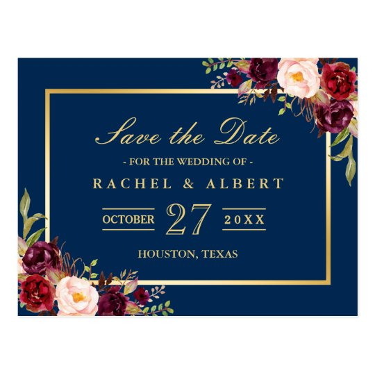 Burgundy Marsala Floral Gold Wedding Save the Date