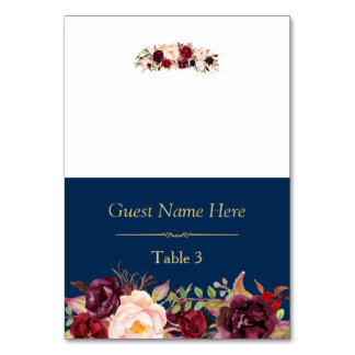 Burgundy Marsala Floral Navy Blue Wedding Place Card