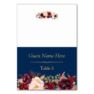 Burgundy Marsala Floral Navy Blue Wedding Place Table Card