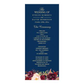 Burgundy Marsala Floral Navy Blue Wedding Program Custom Rack Cards