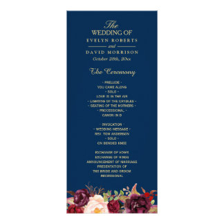 Burgundy Marsala Floral Navy Blue Wedding Program Rack Card