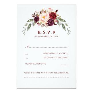 Burgundy Marsala Floral RSVP Card