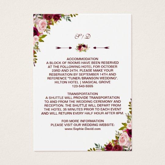 Burgundy Marsala Floral Wedding Details - Info Business
