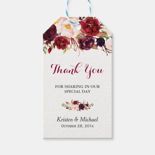 Burgundy Marsala Floral Wedding Favour Thank You Gift