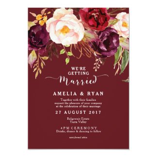 Burgundy Marsala Floral Wedding Invitation