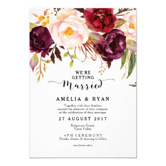 Burgundy Marsala Floral Wedding Invitation Rustic