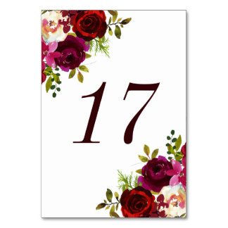 Burgundy Marsala Floral Wedding Table Number