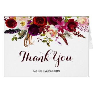 Burgundy Marsala Floral Wedding Thank You Card