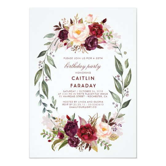 Burgundy - Marsala Floral Wreath Birthday Party Card