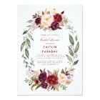 Burgundy - Marsala Floral Wreath Bridal Shower Card