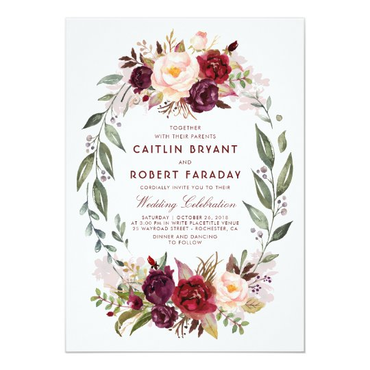 Burgundy - Marsala Floral Wreath Elegant Wedding Card