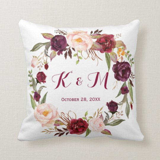 Burgundy Marsala Floral Wreath Wedding Monogram Cushion