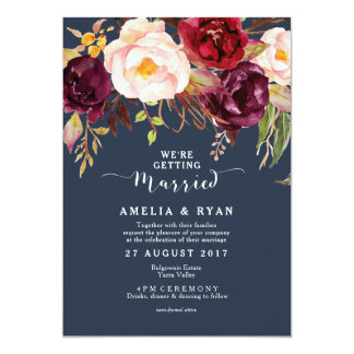 Burgundy Marsala Navy Floral Wedding Invitation