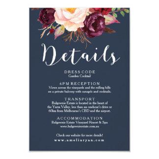 Burgundy Marsala Navy Wedding Details Card