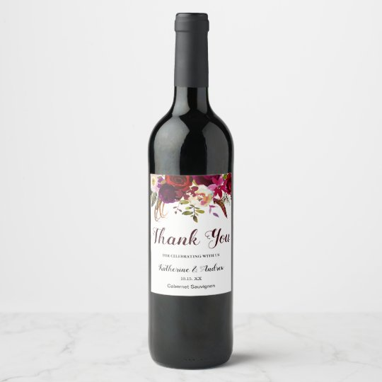 Burgundy Marsala Red Boho Floral Wedding Thank You Wine Label