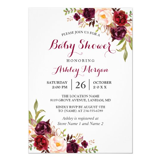 Burgundy Marsala Red Floral Boho Baby Shower Card