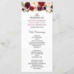 Burgundy Marsala Red Floral Chic Wedding Program Programme