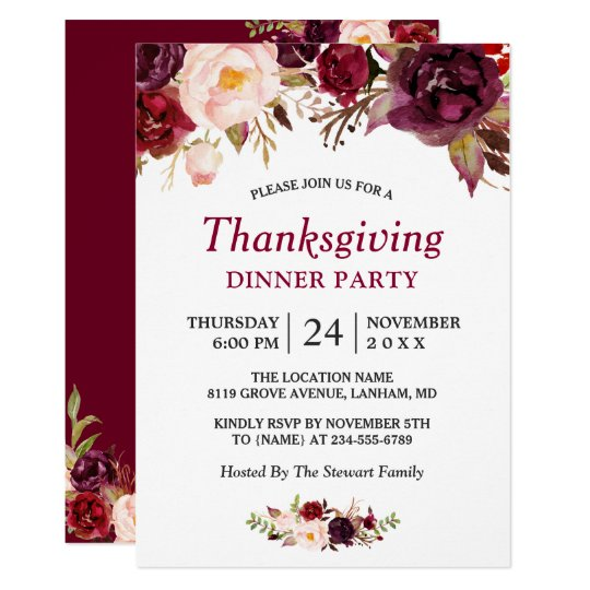 Burgundy Marsala Red Floral Thanksgiving Party Card