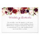 Burgundy Marsala Red Floral Wedding Details Info Card