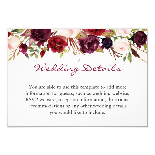 Burgundy Marsala Red Floral Wedding Details Info Card