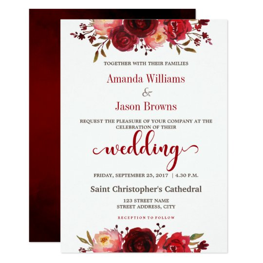 Burgundy Marsala Red Floral Wedding invitation
