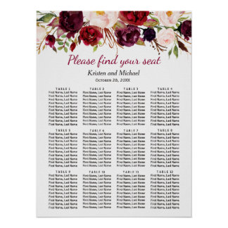 Burgundy Marsala Red Floral Wedding Seating Chart Poster