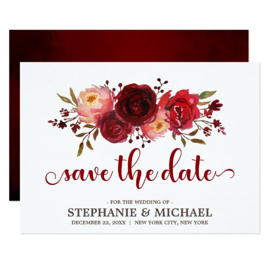 Burgundy Marsala Red Roses Floral save the date