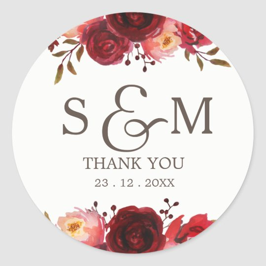 Burgundy Marsala Red Roses Floral Thank You Classic
