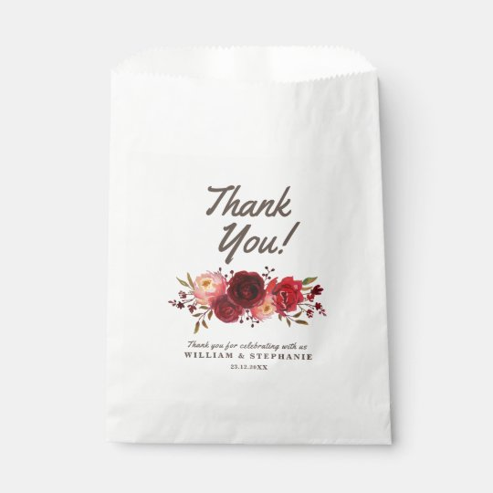 Burgundy Marsala Red Roses Floral Wedding Favour Bags