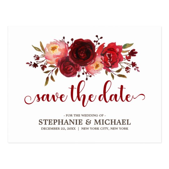 Burgundy Marsala Red Roses Save the Date Postcard