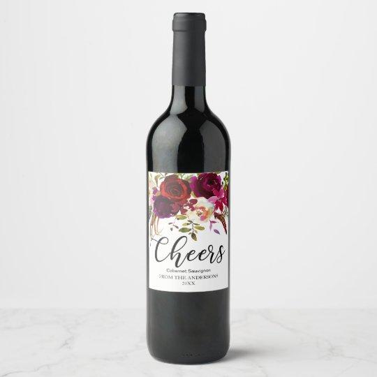 Burgundy Marsala Red Rustic Boho Floral Cheers Wine Label