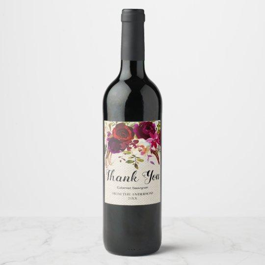 Burgundy Marsala Red Rustic Boho Floral Thank You Wine Label