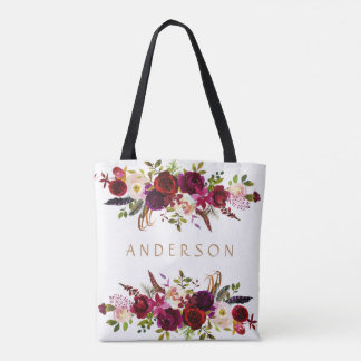 Burgundy Marsala Watercolor Bohemian Floral Tote Bag