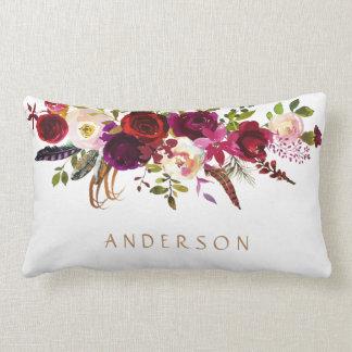 Burgundy Marsala Watercolor Floral Bohemian Lumbar Cushion