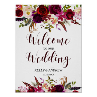 Burgundy Marsala Watercolor Floral Welcome Wedding Poster